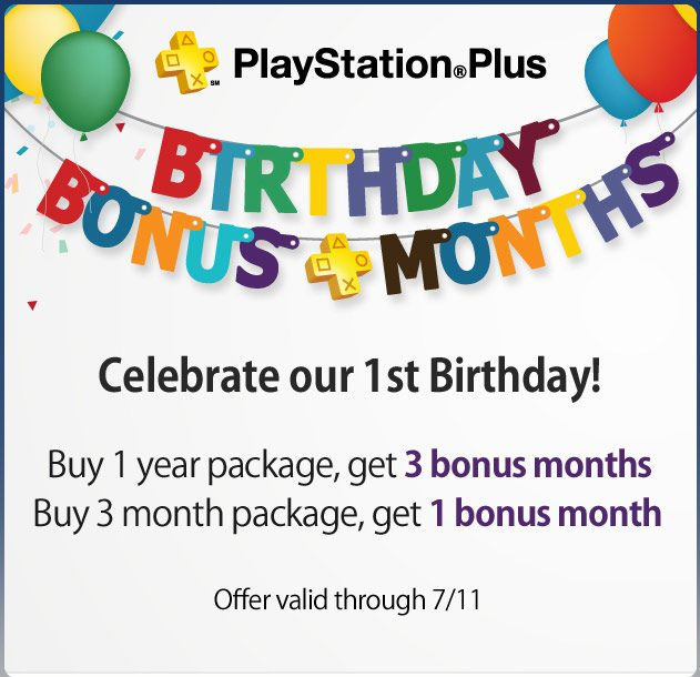 PlayStation Plus Celebrates its 1st Birthday with Limited-Time Bonus Months Offer