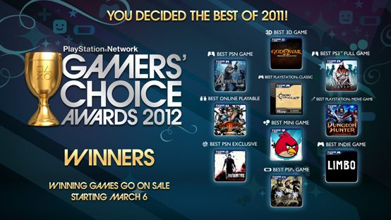 2012 PSN Gamers' Choice Awards – And The Winners Are…