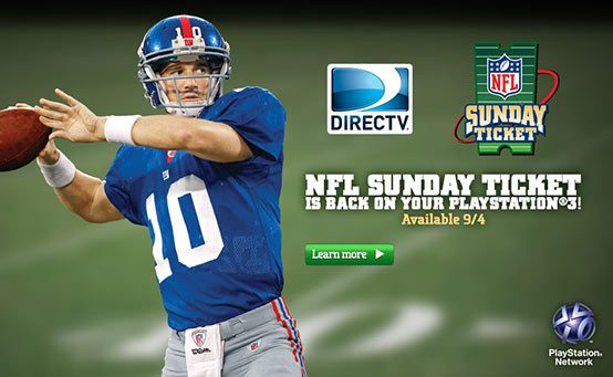DIRECTV'S NFL Sunday Ticket Returns to PS3, Launches in September