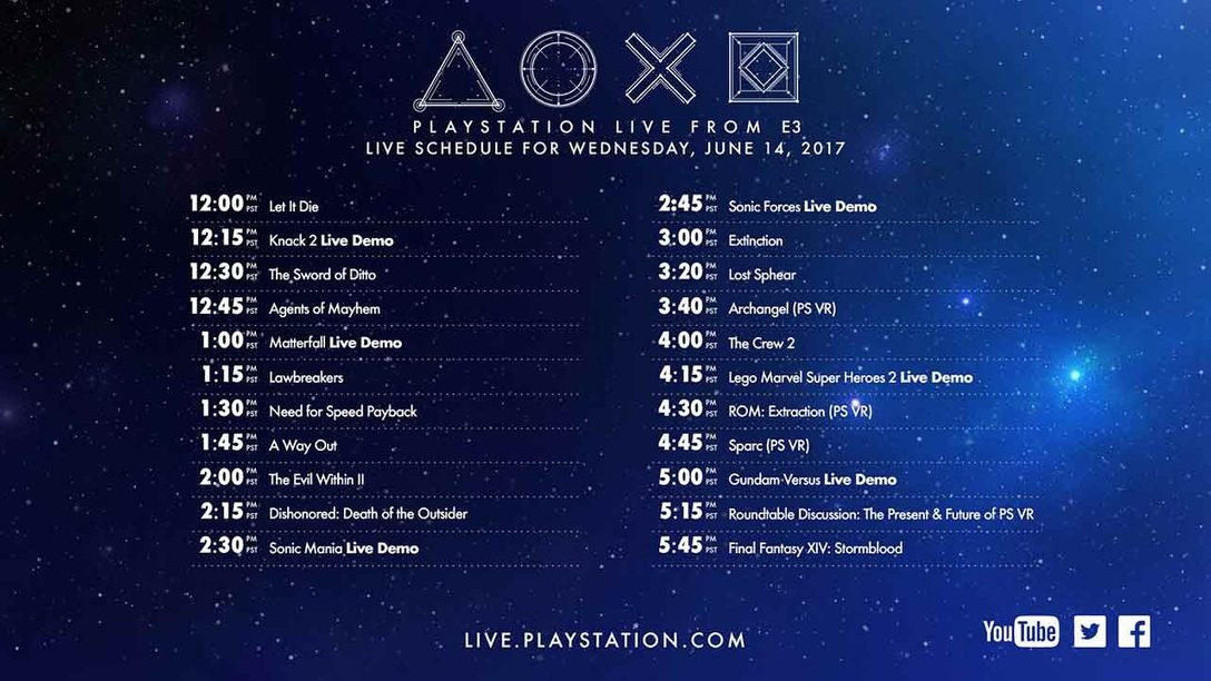 Programming Schedule: PlayStation Live From E3 2017 – PlayStation Blog