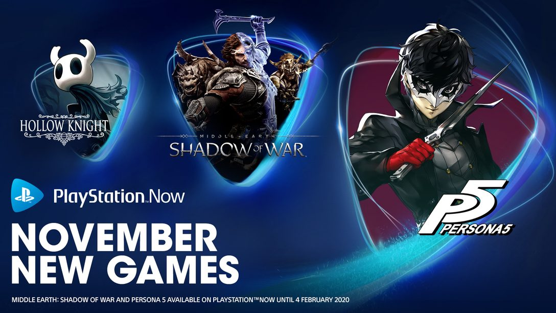 PlayStation Now November Update: Persona 5, Middle-Earth: Shadow of War, Hollow Knight