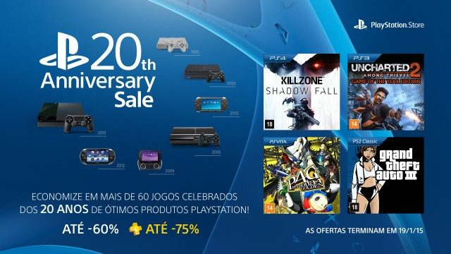 PlayStation Anniversary Sale: mais de 60 jogos com desconto nos 20 anos de PlayStation