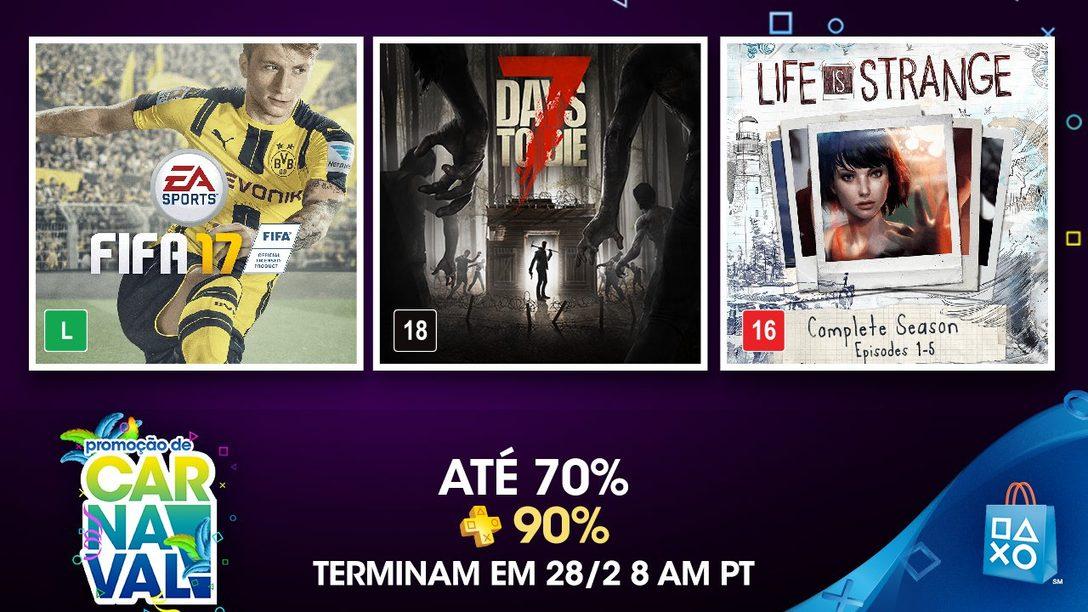 Promoção de Carnaval: Até 70% de Desconto, 90% com  PlayStation Plus