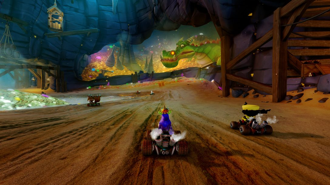 Primeira olhada nas fases Dragon Mines e Retro Stadium de CTR Nitro-Fueled