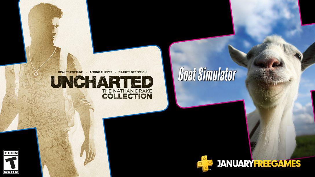 Jogos PS Plus de Janeiro: Uncharted: The Nathan Drake Collection e Goat Simulator