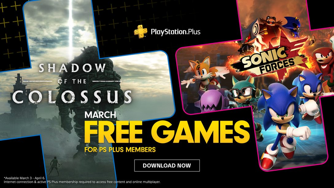 Jogos Gratuitos para PS Plus de Março: Shadow of the Colossus e Sonic Forces